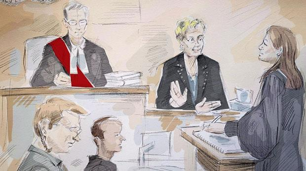In this artist's sketch, Dellen Millard (left) appears in court in Toronto on Thursday, May 31, 2018 for his judge-only trial for the murder of his father, Wayne Millard. Also shown are (from left) Justice Maureen Forestell, Millard's lawyer Ravin Pillay, witness Janet Campbell and Crown Jill Cameron. THE CANADIAN PRESS/Alexandra Newbould