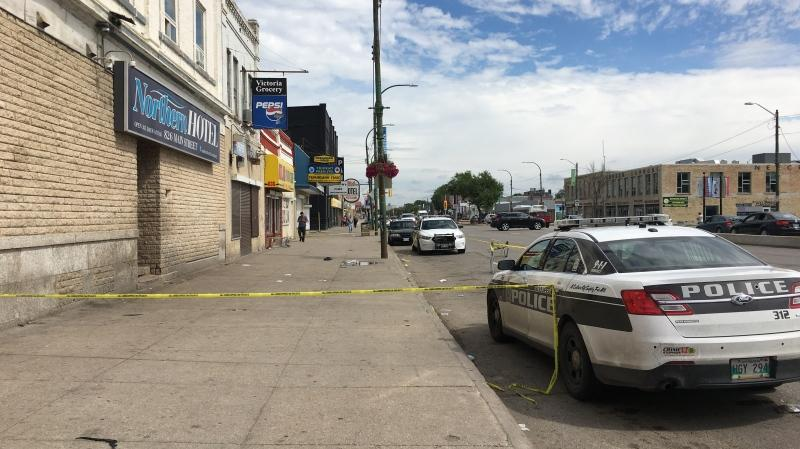 Police tape blocking part of Main Street between Dufferin Avenue and Jarvis Avenue. (Source: CTV News Zach Kitchen)
