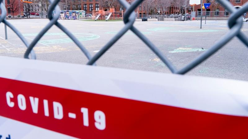 A Quebec schoolyard is seen in this photo from spring 2020. THE CANADIAN PRESS/Paul Chiasson