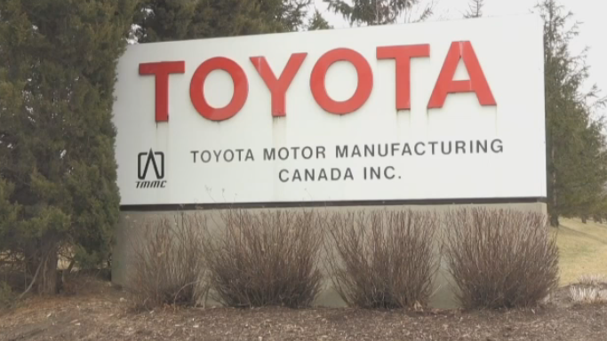 The Toyota sign at its Cambridge plant. (Mar. 19, 2020)
