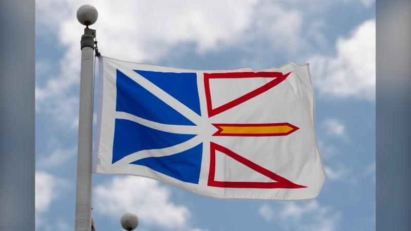 Newfoundland and Labrador's provincial flag flies on a flag pole in Ottawa, Friday July 3, 2020. Janice Fitzgerald, the province's chief medical officer, says the rules will be relaxed for rotational workers to improve their work-life balance. (THE CANADIAN PRESS/Adrian Wyld)