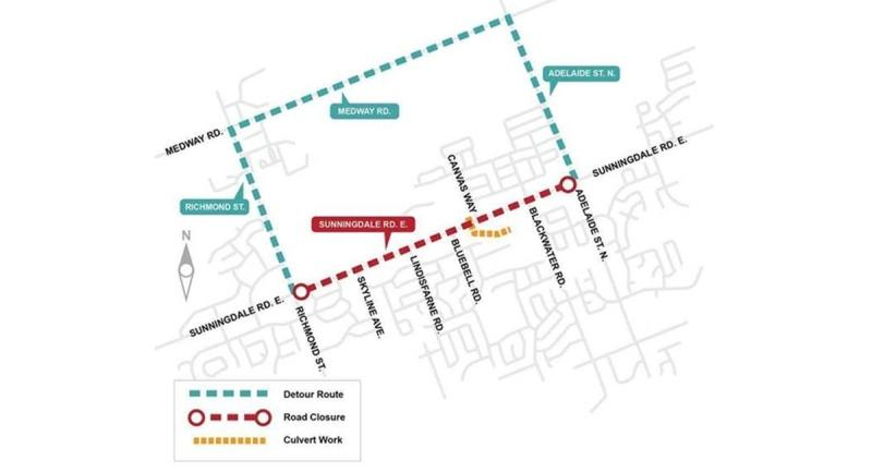 A map provided by the City of London shows the closure on Sunningdale Road starting Sept. 8, 2020.