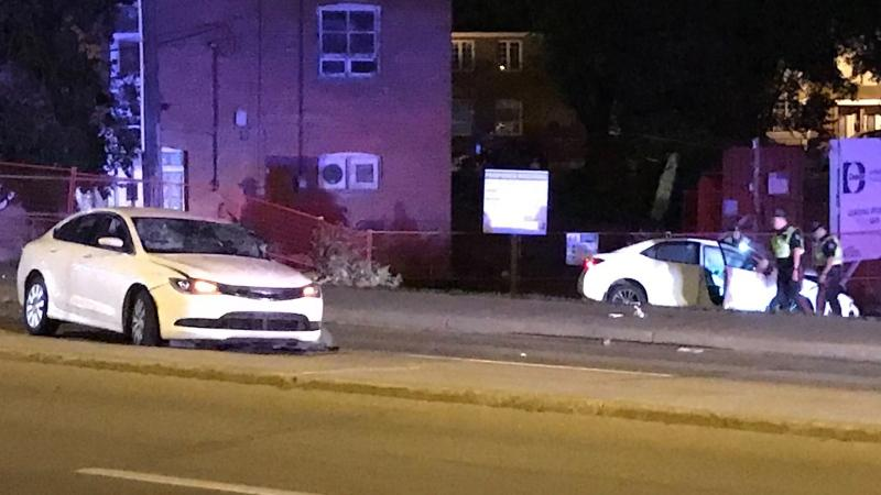 Two cars were damaged after a crash on Sept. 4. (Sean McClune/CTV News Edmonton)