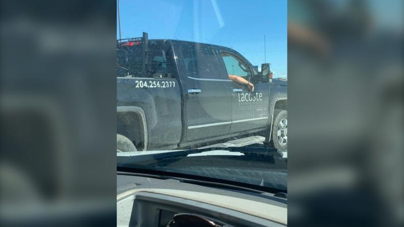 The Lacoste Garden Centre truck that videotaped a Winnipeg woman with cancer. (Source: Facebook/Alyssa Davies)