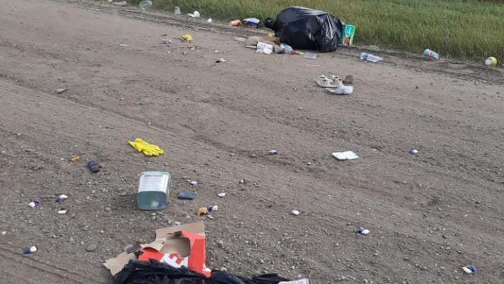 Corman Park police are looking for those responsible for dumping garbage on a rural road west of Warman on Sept. 4. Photo by CPPS.