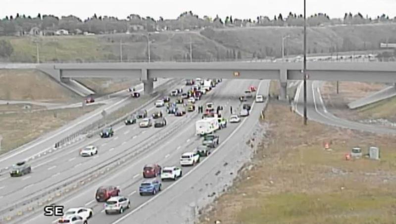 Calgary police closed Deerfoot Trail in both directions at 17 Avenue S.E. because of a multi-vehicle crash. (Supplied)