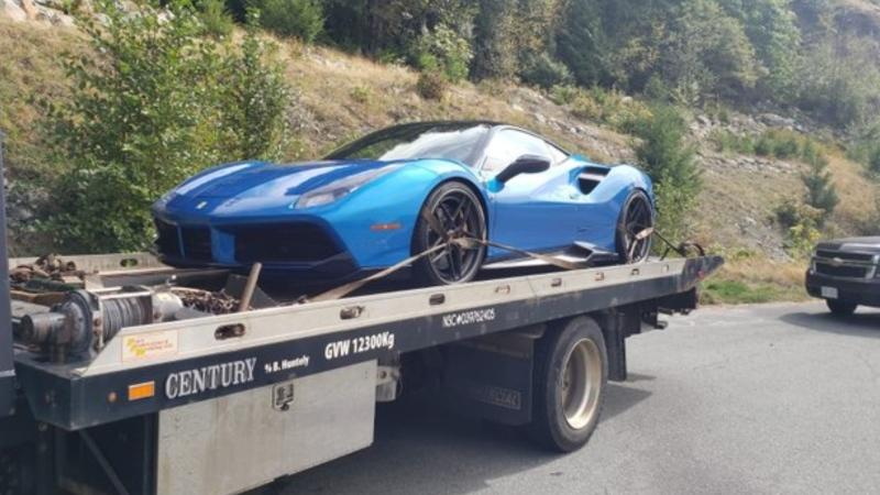 Squamish RCMP say a Ferrari was impounded over the weekend after going 189 km/h in an 80 zone. (Squamish RCMP/Twitter)