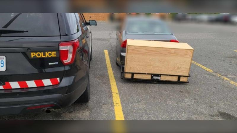 Car stopped in Espanola with unsafe trailer. Sept. 8/20 (OPP)