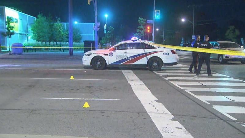 Toronto police respond to a shooting in the area of Jane Street and Wilson Avenue Tuesday September 15, 2020.