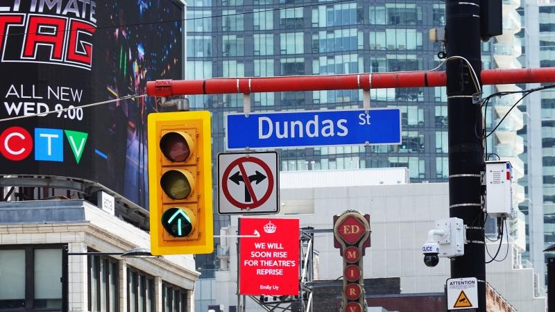 A sign for Dundas Street in downtown Toronto is seen. (CTV News Toronto)