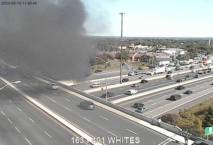 A fiery crash on the 401 westbound collectors at Whites Road