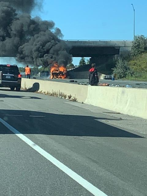 Fiery crash on the 401 wb collectors at Whites Road