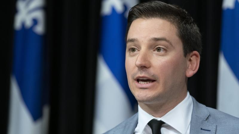 Minister Simon Jolin-Barrette speaks at a news conference Thursday, March 28, 2019 at the legislature in Quebec City. (THE CANADIAN PRESS/Jacques Boissinot)