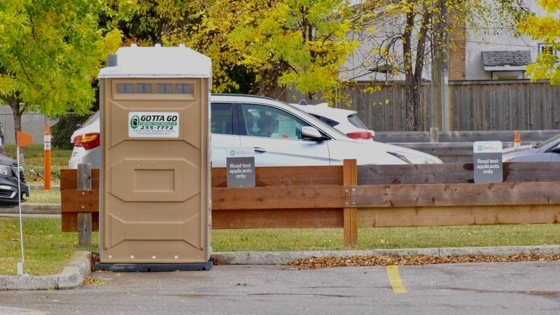 A porta-potty has been placed at the drive-thru testing site in Winnipeg, for those waiting in line who feel nature calling. (Source: Scott Andersson/ CTV News Winnipeg)