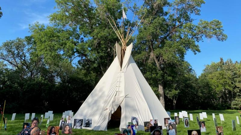 The Walking with our Angels tipi has been erected on the Saskatchewan legislature grounds. (CTV Regina)