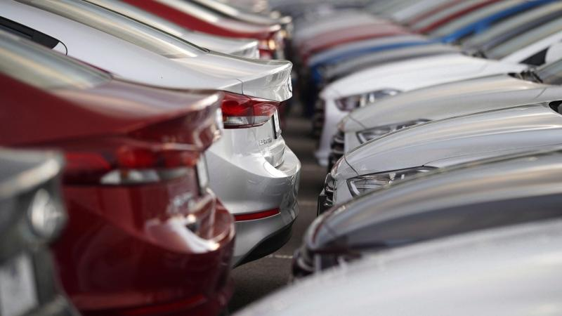 Unsold 2018 Elantra sedans sit at a Hyundai dealership in Littleton, Colo. on Sunday, June 24, 2018. THE CANADIAN PRESS/AP/David Zalubowski
