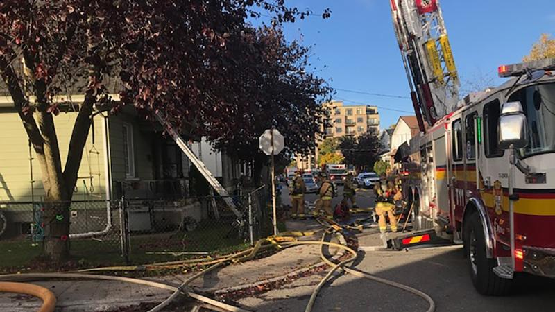 Fire crews are battling a fire at a duplex in Hintonburg on Thursday, Oct. 8, 2020.(Jim O'Grady/CTV Viewer)