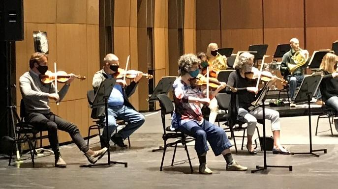 The NAC Orchestra rehearsed on Thursday for the first time since the start of the COVID-19 pandemic. (Leah Larocque/CTV News Ottawa)