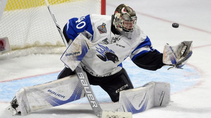 Saint John Sea Dogs goaltender Callum Booth eyes the puck on a shot from the Erie Otters during second period Memorial Cup semifinal hockey action in Windsor, Ont., on Friday, May 26, 2017. THE CANADIAN PRESS/Adrian Wyld