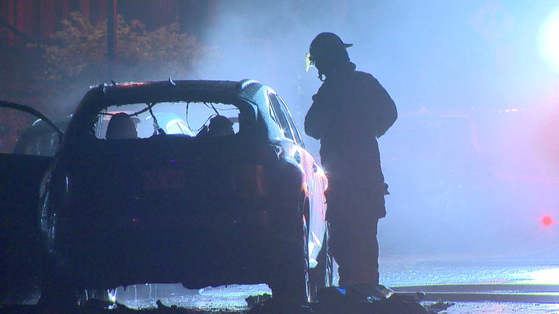Montreal police are investigating after a car reported stolen was found in flames early Wednesday morning in Villeray / Cosmo Santamaria, CTV News Montreal