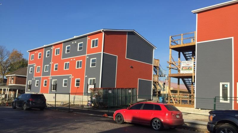Northern Shield Development repurposed shipping containers into an apartment complex in Orillia, Ont. - Fri., Oct. 23, 2020 (Steve Mansbridge/CTV News)