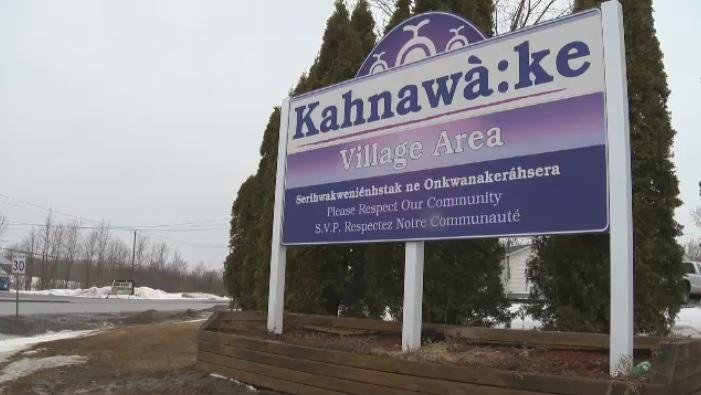 A sign welcoming visitors to Kahnawake, a Mohawk community south of Montreal.