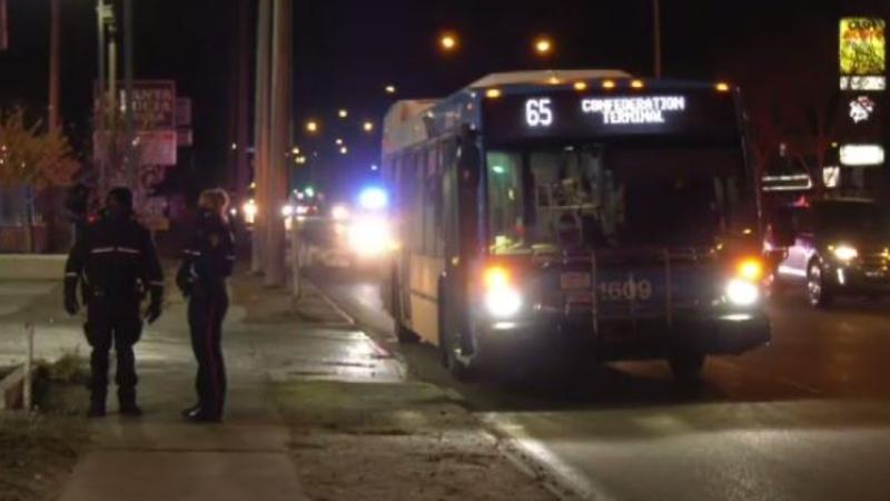 Police and and paramedics were called to scene after a bus hit a pedestrian around 8 p.m. on Oct. 29. (Matt Young/CTV News)
