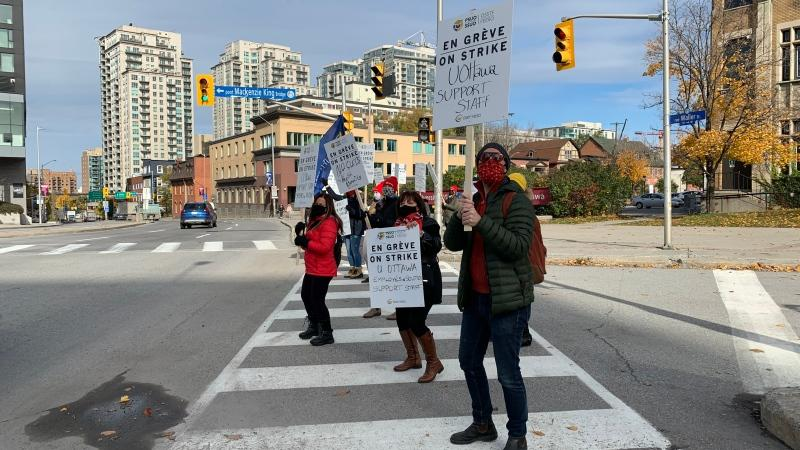 Support staff at uOttawa spent Tuesday afternoon, Oct. 27, 2020, on the picket line at Waller St. and the Mackenzie King Bridge. (Saron Fanel / CTV News Ottawa)