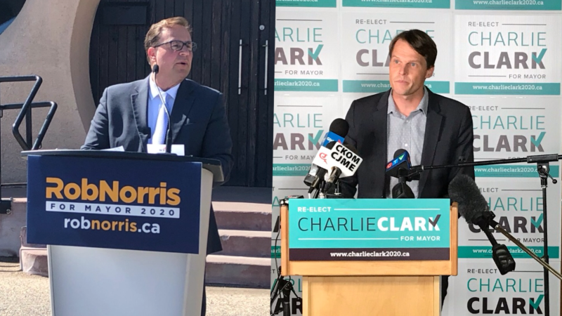Rob Norris and Charlie Clark in file photos taken throughout their campaign.