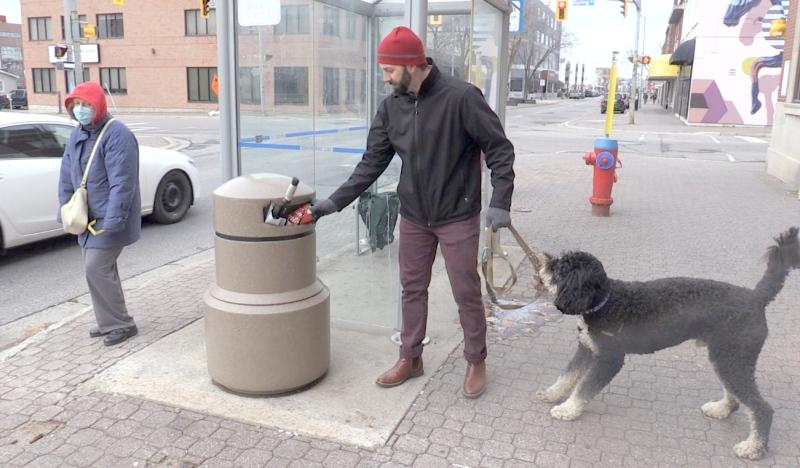 Sault Ste. Marie is removing its downtown trash bins for the winter, but the Downtown Association says it's baffled by the decision to not put in permanent bins. (Christian D'Avino/CTV News)
