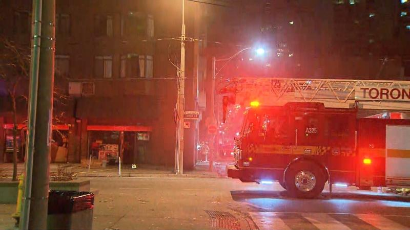 Toronto fire responds to a three-alarm electrical fire at 96 Gerrard Street East Monday November 2, 2020.