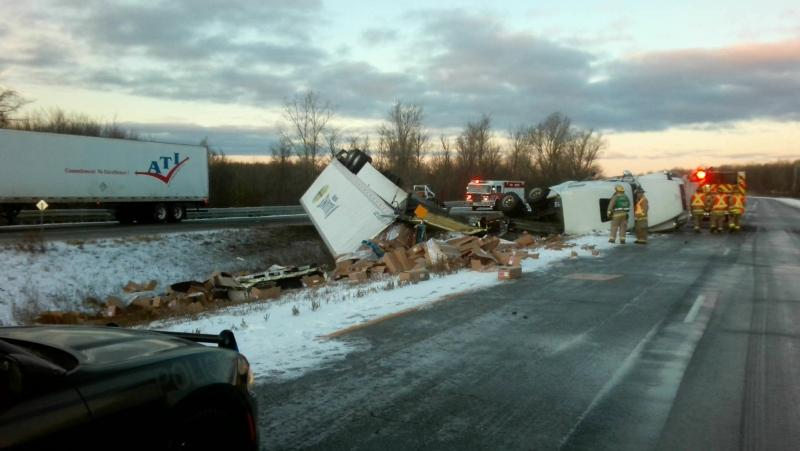 Highway 401 westbound near Cornwall was closed Tuesday morning after a crash involving several tractor-trailers.