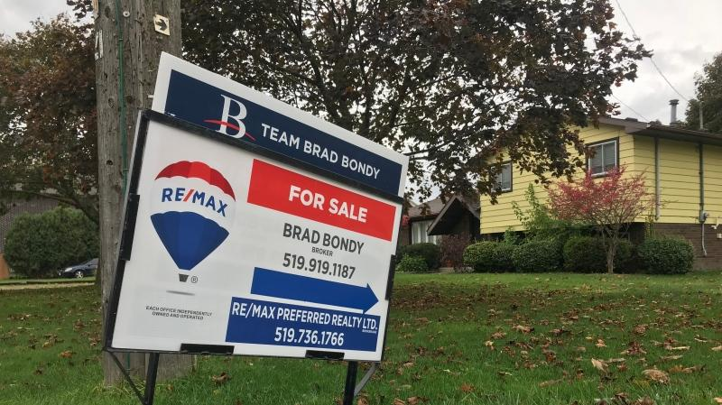 Housing prices on the rise in Windsor, Ont. for sale sign shown on Thursday, Oct. 15 2020. (Rich Garton/CTV Windsor)