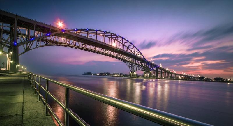 The twin spans of the Blue Water Bridge international crossing between the cities of Port Huron, MI and Sarnia, Ont.