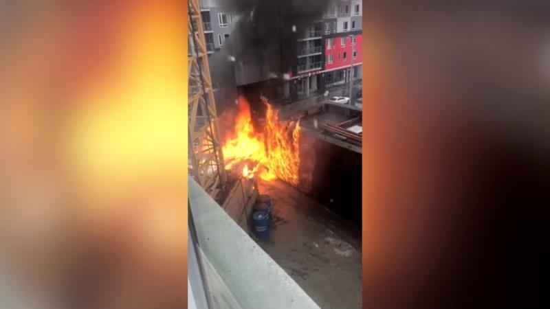 Flames broke out at a construction site in the Beltline on Thursday.