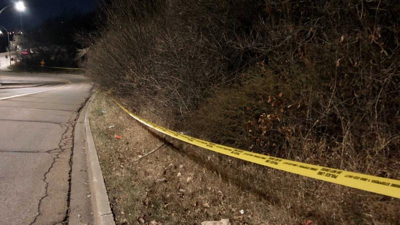 Police tape on Alex Taylor Road after a man died there on Oct. 31, 2020. (Cam Wiebe/CTV News Edmonton)