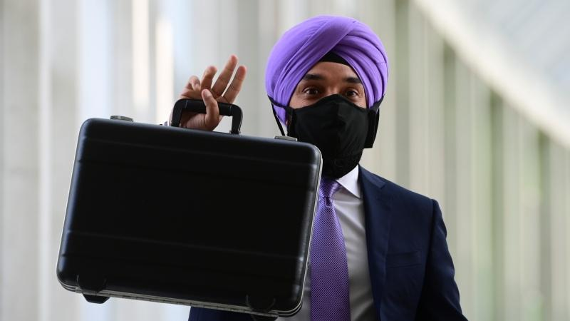 Minister of Innovation, Science and Industry Navdeep Bains leaves on the third and final day of the Liberal cabinet retreat in Ottawa on Wednesday, Sept. 16, 2020. (THE CANADIAN PRESS/Sean Kilpatrick)