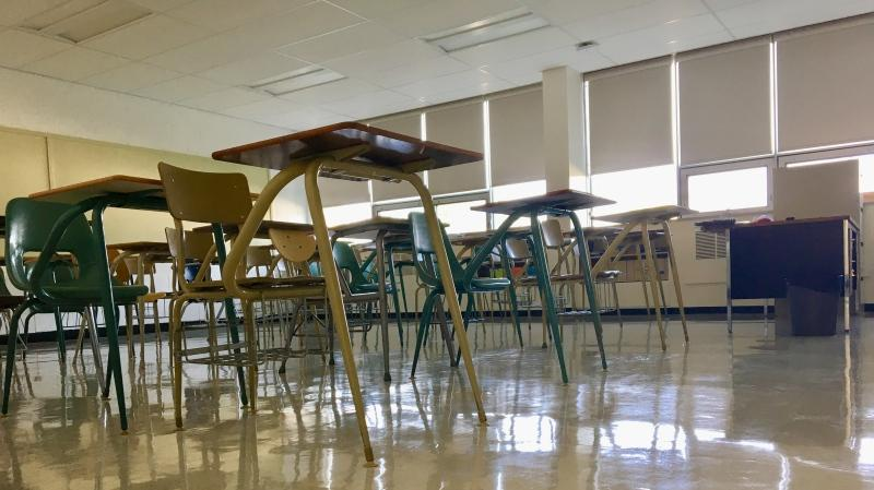 An empty classroom at Campbell Collegiate, in Regina, is seen in this image taken August 25, 2020. (Gareth Dillistone/CTV News)