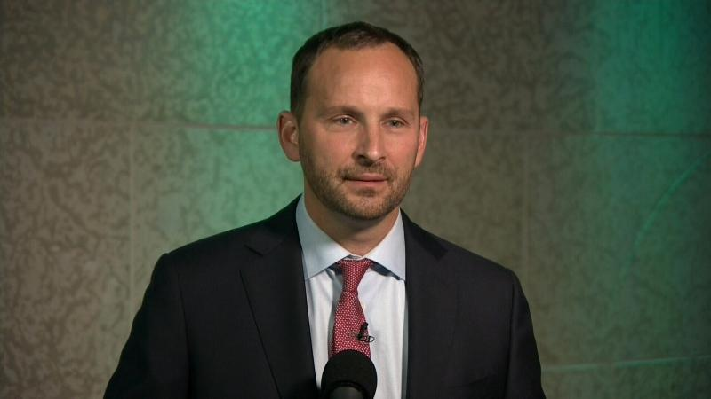 Ryan Meili speaks to reporters following the 2020 Saskatchewan leader's debate.