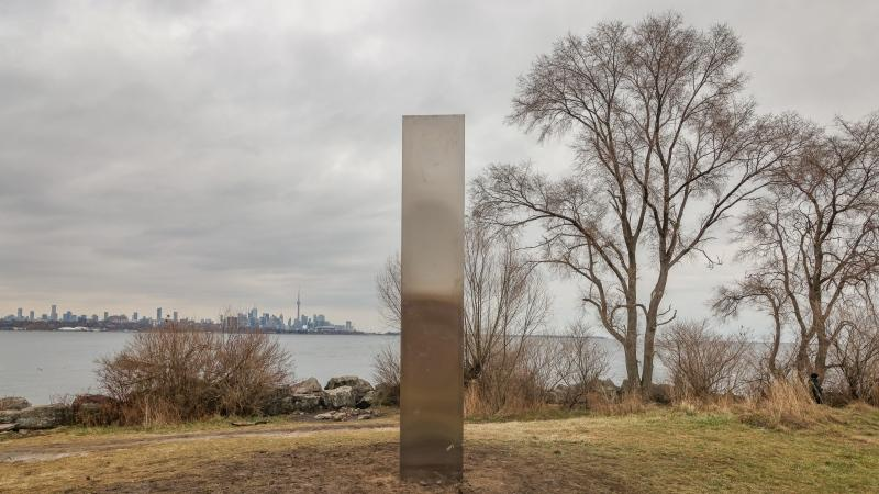 A metallic monolith appeared on Toronto's shorelines on Dec. 31, 2020. (Tom Podolec/CTV News Toronto)