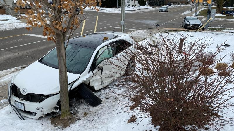 Two cars damaged in a crash at Union Blvd. and Park St. in Waterloo. (Jan. 1, 2021)