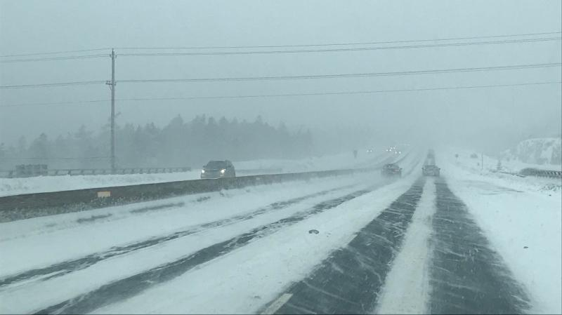 Traffic was light on Nova Scotia's Highway 102 as a winter storm hit the region on March 4, 2019.
