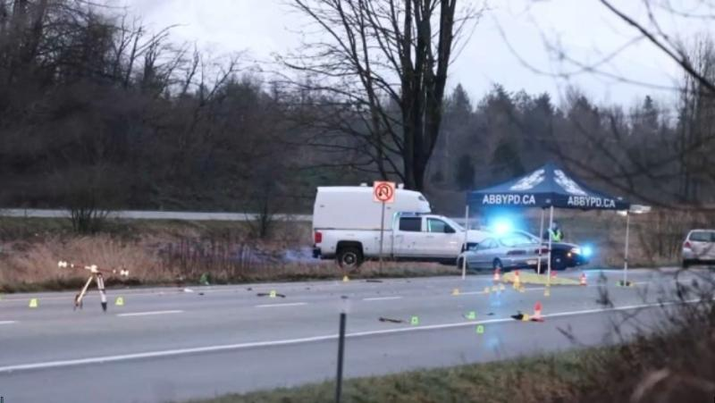 A pedestrian is dead after being hit by three vehicles early Sunday morning, Jan. 3, 2021, on the highway in Abbotsford, B.C.