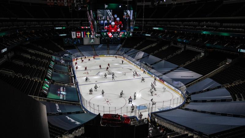 Switzerland and Austria take to the ice before first period IIHF World Junior Hockey Championship pre-competition action in Edmonton on Tuesday, December 22, 2020. THE CANADIAN PRESS/Jason Franson