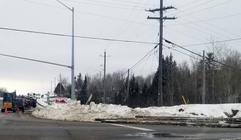 North Bay Ontario Provincial Police is on the scene at Highway 17 at Highway 94 in East Ferris Township. In a tweet, police said a commercial motor vehicle lost its load of hydro poles, spilling them on parts of the highway. (Supplied)