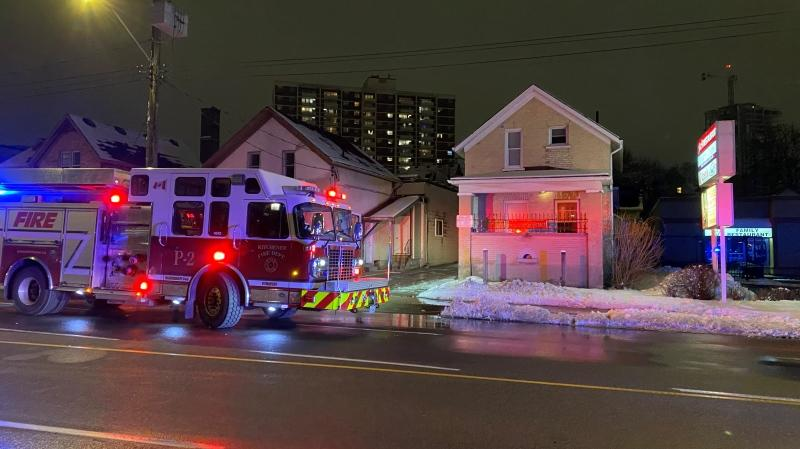 Fire crews on scene at a Victoria Street property in Kitchener. (Terry Kelly - CTV Kitchener) (Jan. 4, 2021)