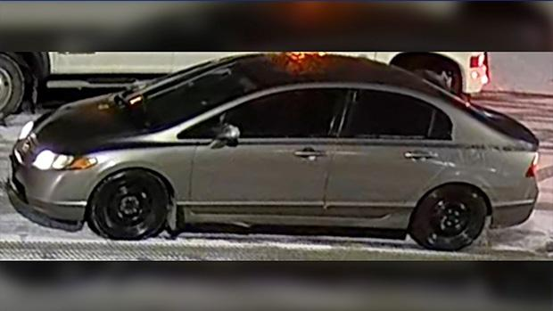 Provincial police released this image of a Honda Civic believed to be involved in a home invasion in Collingwood, Ont., on Dec. 19, 2020. (OPP Handout)