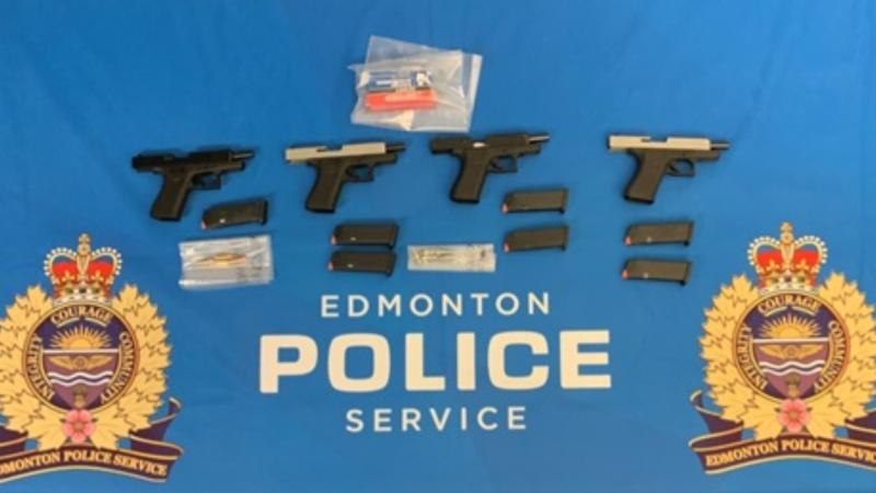 According to police, a straw buyer in Valleyview, Alta., drove to Edmonton on Dec. 23 and bought four handguns, later meeting with two men. (Photo provided.)
