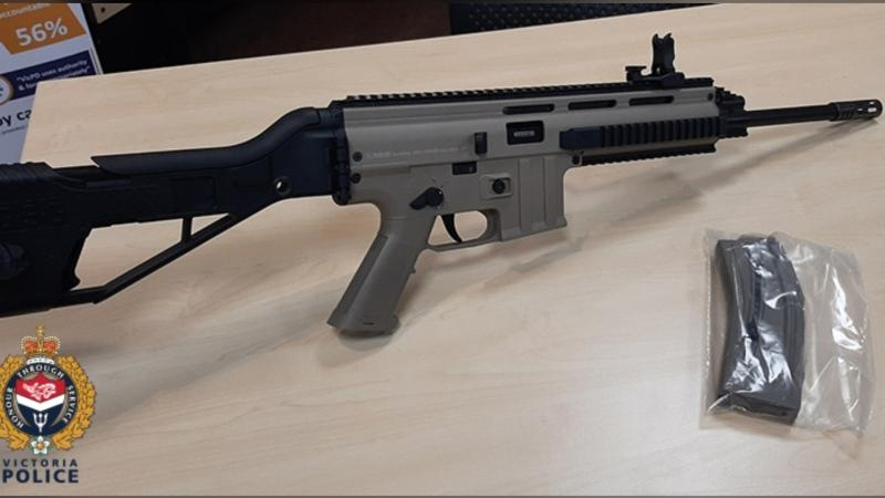"Victoria police say this rifle was located with a round in the chamber and the safety in the ""off"" position. (VicPD)"