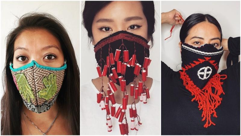 The 'collective hurt' of Indigenous and Asian people is inspiring a crowdsourced mask collection, with some designs featuring dragons, dynamite, and hands symbolizing for missing and murdered Indigenous women. (Courtesy of NDNxAZN)